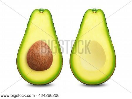 Avocado Collection Isolated On White Background. Avocado Half Clipping Path. Avocado Studio Macro Sh