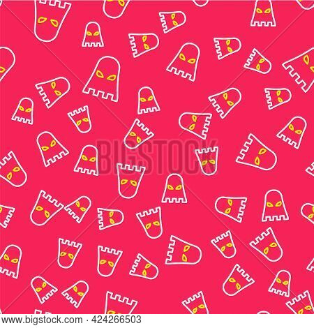 Line Executioner Mask Icon Isolated Seamless Pattern On Red Background. Hangman, Torturer, Executor,