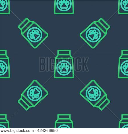 Line Bag Of Food For Dog Icon Isolated Seamless Pattern On Blue Background. Dog Or Cat Paw Print. Fo