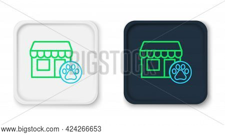 Line Veterinary Medicine Hospital, Clinic Or Pet Shop For Animals Icon Isolated On White Background.