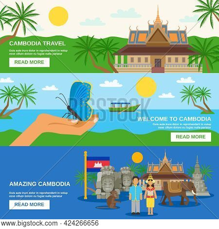 Top Tourists Attraction In Cambodia 3 Flat Horizontal Banners Set Webpage For Travelers Abstract Iso