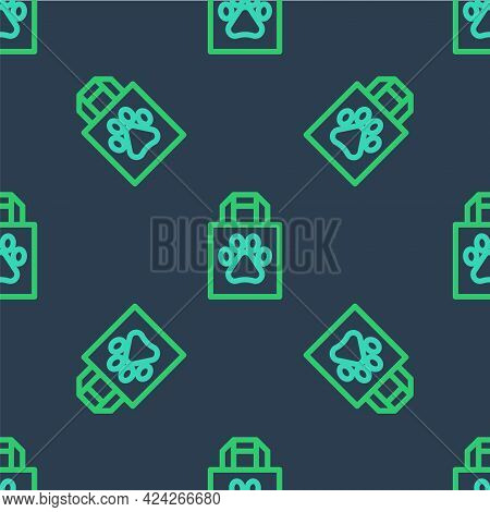Line Shopping Bag Pet Icon Isolated Seamless Pattern On Blue Background. Pet Shop Online. Animal Cli