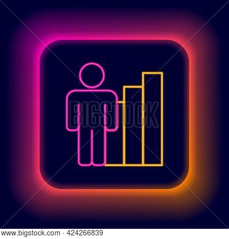 Glowing Neon Line Productive Human Icon Isolated On Black Background. Idea Work, Success, Productivi