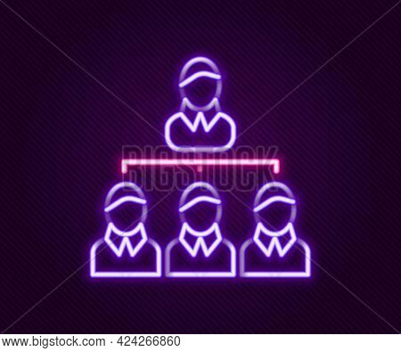 Glowing Neon Line Business Hierarchy Organogram Chart Infographics Icon Isolated On Black Background