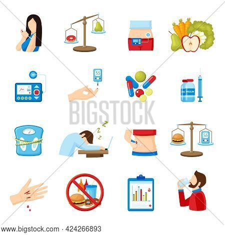 Diabetes Signs And Symptoms Flat Icons Collection With Healthy Lifestyle And  Insulin Injection Abst