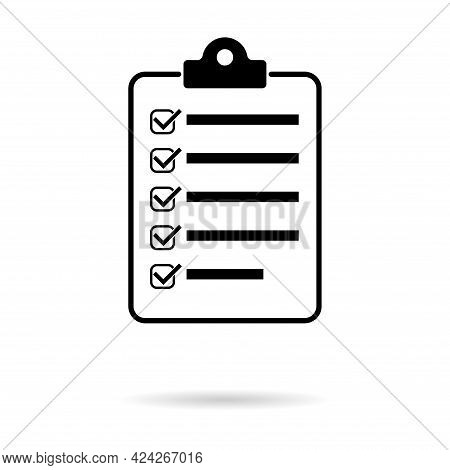 Check List , Checklist Flat Web Icon With Shadow. Mark Symbol, Document Report Test, Vector Illustra