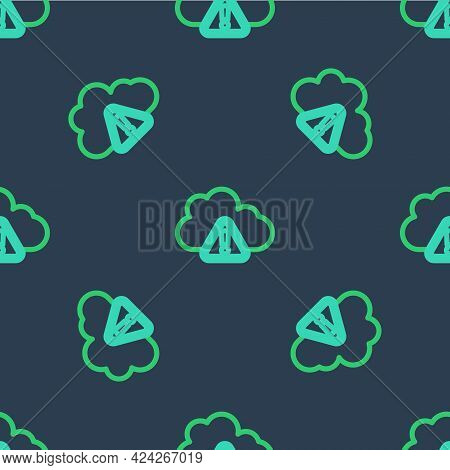 Line Storm Warning Icon Isolated Seamless Pattern On Blue Background. Exclamation Mark In Triangle S