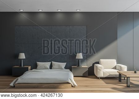 Dark Bedroom Interior With Grey Bed And Pillows, Parquet Floor And Tables With Lamps. Mockup Copy Sp