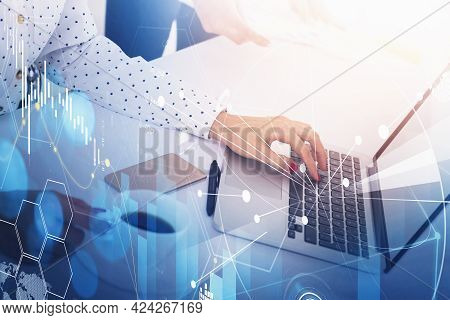 Businesswoman Or Fund Trader Analyzing Stock Market Graph Chart Using Laptop To Buy Or Sell Assets,
