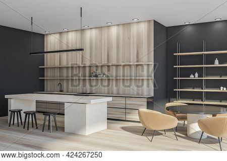 Minimalist Kitchen Interior With Round Table, Armchairs And Bar Chairs, Side View. Rack With Decorat