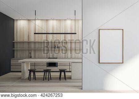 Minimalist Kitchen Set Interior With Beige Cutting Table And Three Black Bar Chairs On Parquet. Kitc