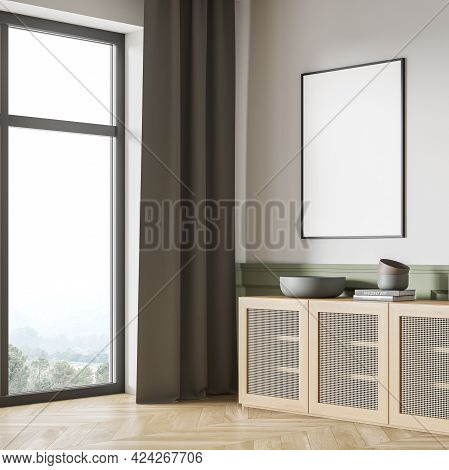 Green And White Art Room Interior With Wooden Commode With Books And Vase, Panoramic Window With Cou