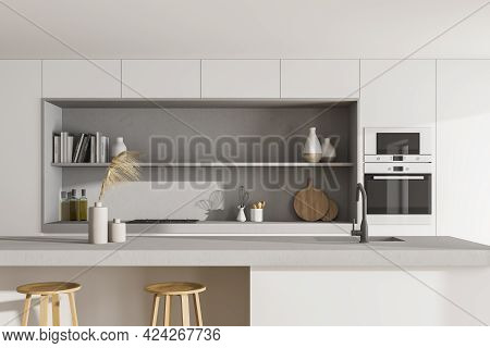 Light Kitchen Room With Table And Bar Chairs, Front View. Cooking Set Interior With Shelves And Reci