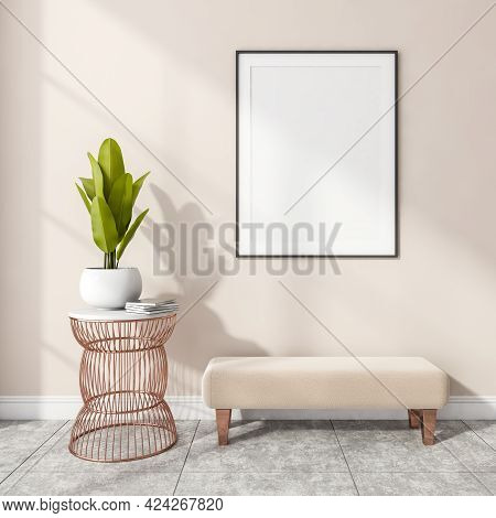Stylish Modern Office Interior, Entrance Room, Gallery Or Museum With Design Ottoman, White Mock Up
