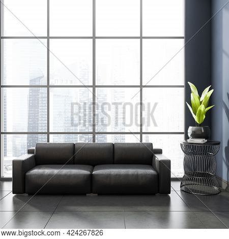 Stylish Modern Office Room Interior In Skyscraper Building With Design Black Leather Couch, Tile Cer