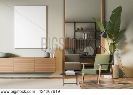 Reading Art Room Interior With Wooden Commode And Bookshelf On Background, Green Armchair And Coffee
