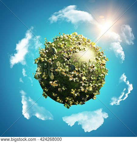 3D render of a background with globe of buttercups and daisies on blue sky with circling clouds