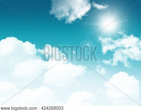 3D render of a sunny blue sky with fluffy white clouds