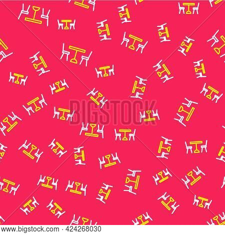 Line Picnic Table With Chairs On Either Side Of The Table Icon Isolated Seamless Pattern On Red Back