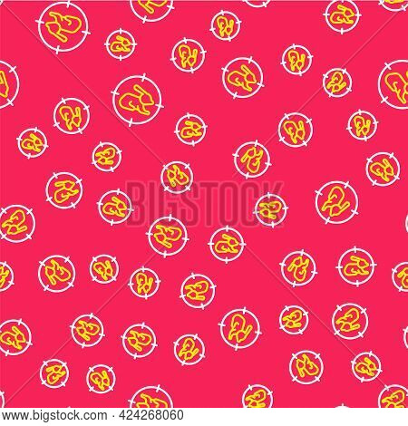 Line Hunt On Rabbit With Crosshairs Icon Isolated Seamless Pattern On Red Background. Hunting Club L