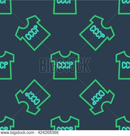 Line Ussr T-shirt Icon Isolated Seamless Pattern On Blue Background. Vector