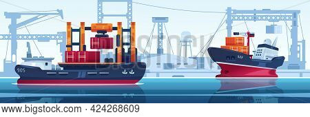 Ship In Dock. Cargo Transport With Containers In Harbor. Vessel For Freight Transportation. Water Ve