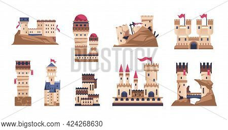 Medieval Castle. Cartoon Old Fort Or Kings Palace. Historic Building With Towers And Flags. Ancient