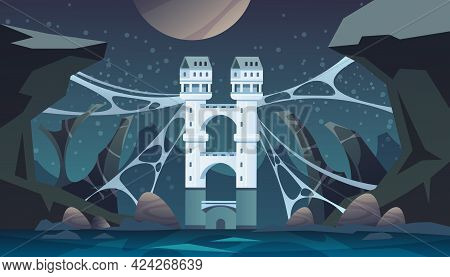 Fairy Tale Castle. Cartoon Scary Landscape With Medieval Stronghold. Historic Towers And Bridge Over