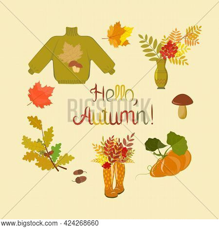 Set Of Autumn Clip Art For Scrapbooking, Decorative Elements. Collection Of Autumn Attributes: Leave