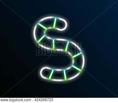 Glowing Neon Line Worm Icon Isolated On Black Background. Fishing Tackle. Colorful Outline Concept.