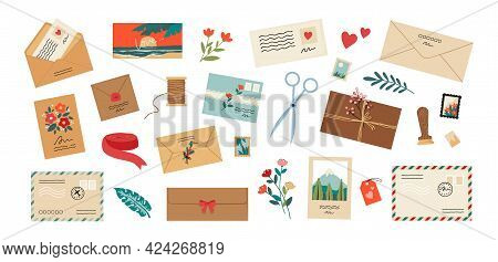 Envelope With Letter. Cartoon Mail Postcards With Stamps And Flowers. Greeting Card Postal Delivery.