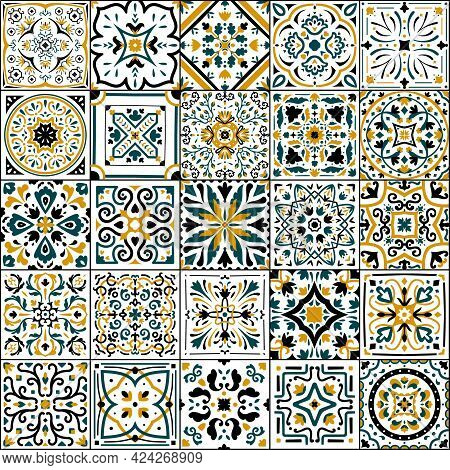 Azulejo Tile. Spanish And Portugal National Patchwork. Ornamental Flower Pattern. Antique Arabesque
