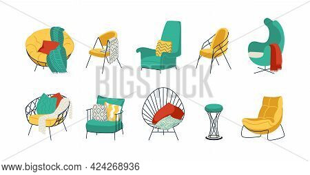 Cartoon Armchairs. Comfortable Home Furniture For Sitting. Cozy Lounge Chairs Or Stools. Room Sofa W