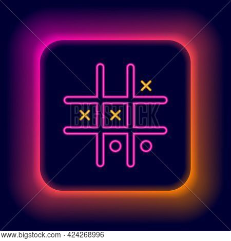 Glowing Neon Line Tic Tac Toe Game Icon Isolated On Black Background. Colorful Outline Concept. Vect