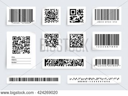 Qr Code Label. Barcode Product Price Scan Tags. Digital Data Information. Realistic Sticky Paper She