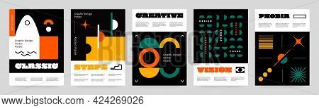 Brutalism Shapes Posters. Abstract Contemporary Minimalistic Brochures With Retro Fonts And Swiss Fi