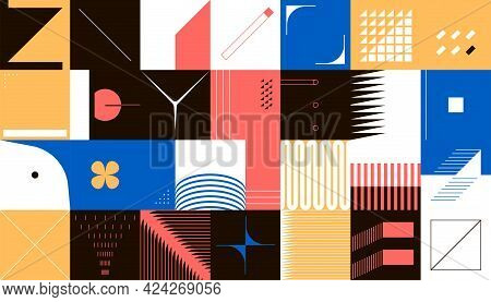 Geometric Cover. Contemporary Minimalistic Shapes Composition. Collage Of Square Frames With Simple