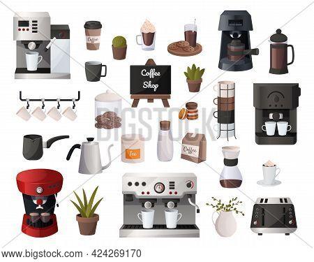Coffee Supplies. Cartoon Cafe Equipment. Espresso Machine And Tools For Alternative Drink Caffeine P