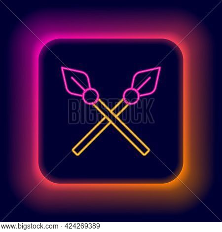 Glowing Neon Line Crossed Medieval Spears Icon Isolated On Black Background. Medieval Weapon. Colorf