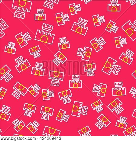 Line Castle Icon Isolated Seamless Pattern On Red Background. Medieval Fortress With A Tower. Protec