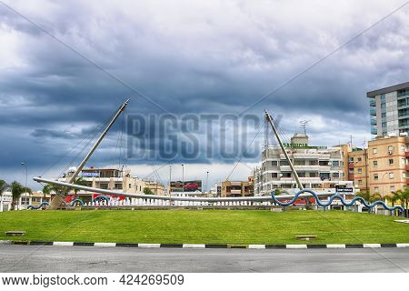 Larnaca, Cyprus - March 03, 2019: Beautiful Fountain On The Conjunction Of Spyrou Kyprianou Street A