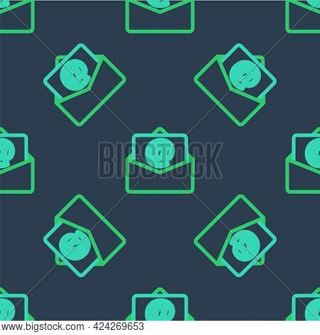 Line Mail And E-mail Icon Isolated Seamless Pattern On Blue Background. Envelope Symbol E-mail. Emai