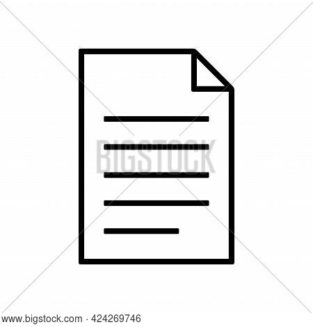 Document Icon Isolated On White Background. File, Text Document, A Sheet Of Paper Document. Symbol F