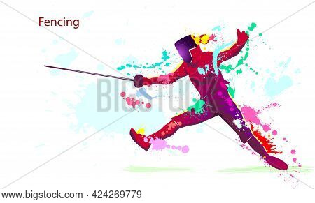 Fencer With A Saber. Silhouette Of An Athlete. Grunge Style. Fencing Is A Sport. Various Multicolore