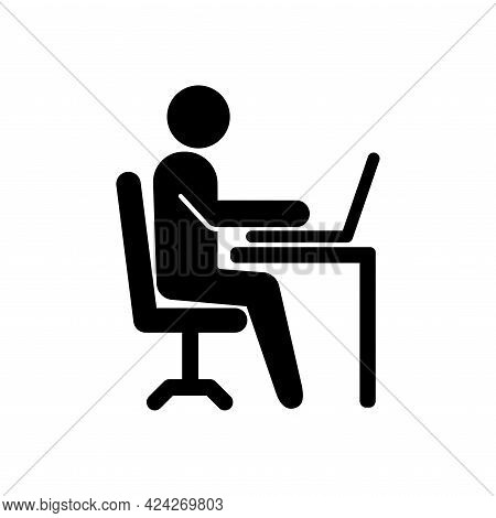 Office Worker Icon Isolated On White Background. Working Place At The Table With A Laptop. Flat Work