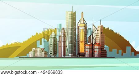 View From Sea To Panorama Of Hong Kong Center With Skylines And Bridge Background Flat Vector Illust