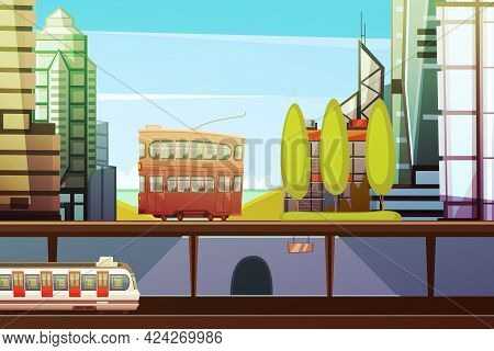 Hong Kong Downtown Cartoon Front View With City Transport And Town Buildings Elements Flat Vector Il