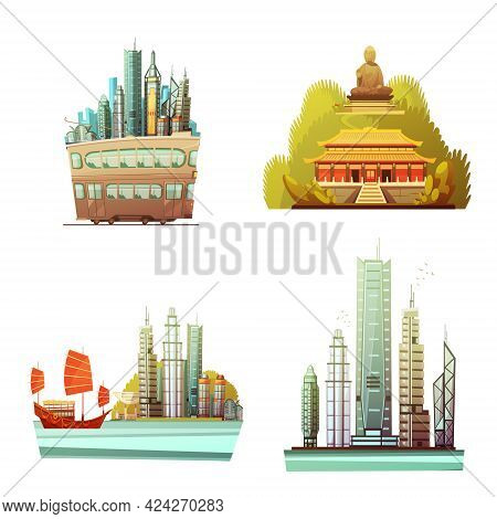 Hong Kong 2x2 Design Concept Set Of History Landmarks Modern Urban Architecture And Sea Landscape Fl
