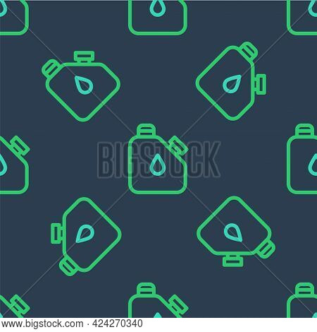 Line Canister For Flammable Liquids Icon Isolated Seamless Pattern On Blue Background. Oil Or Biofue