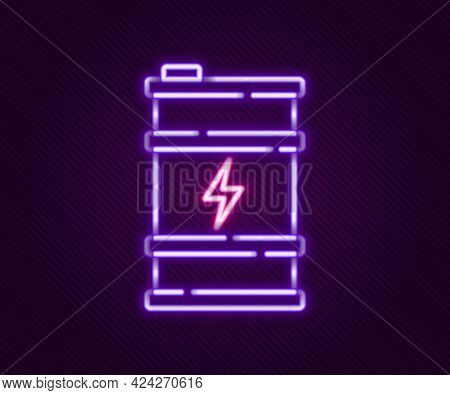 Glowing Neon Line Bio Fuel Barrel Icon Isolated On Black Background. Eco Bio And Canister. Green Env